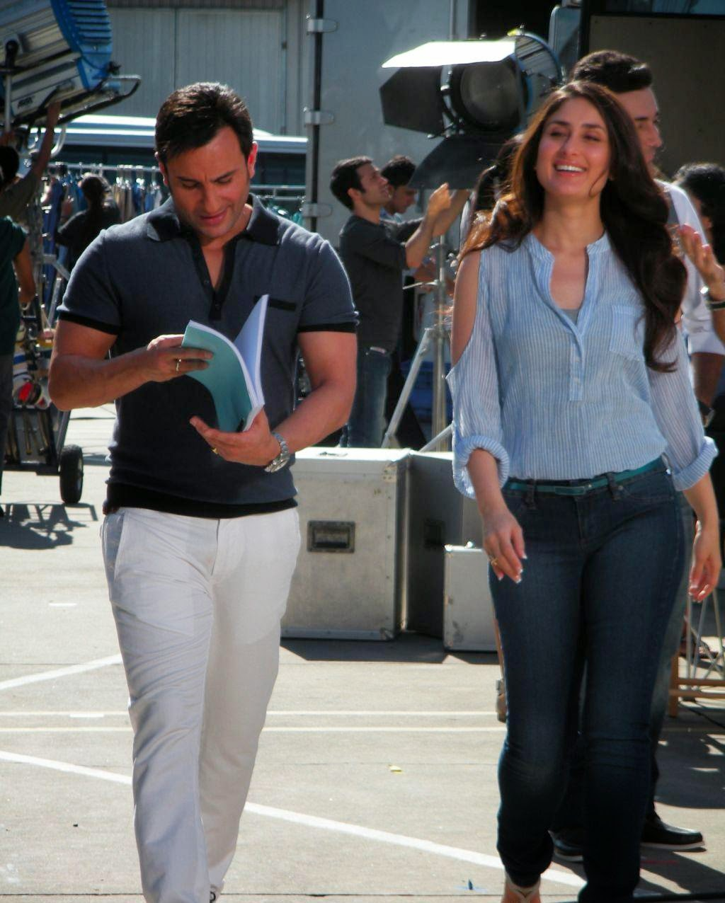 Saif-Kareena :Saif-Kareena Shooting For An Advertisement On Sets Pics in HD
