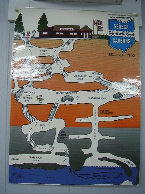 Profile map of the seneca caverns bellevue ohio