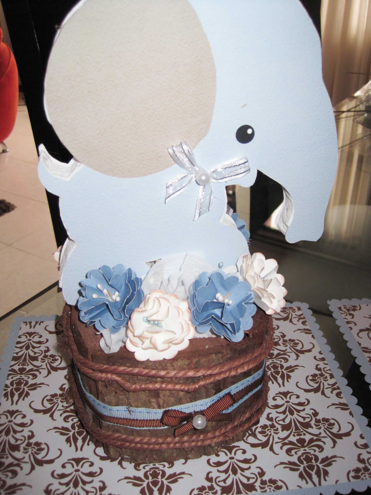 Decoracion Baby Shower Azul Y Cafe