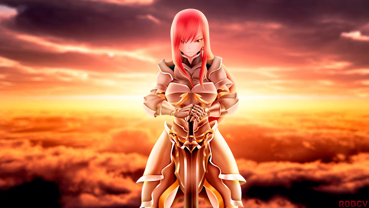 erza scarlet armor and sword fairy tail anime girl