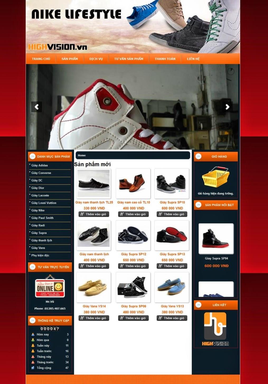 thiết kế website bán hàng giầy thể thao giá rẻ