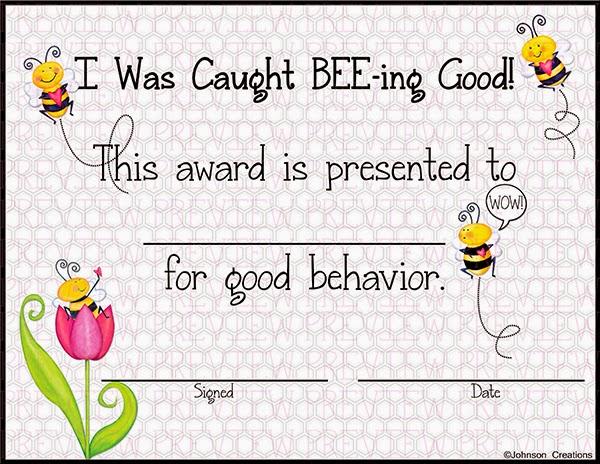 Johnson Creations: Good BEE-havior Award