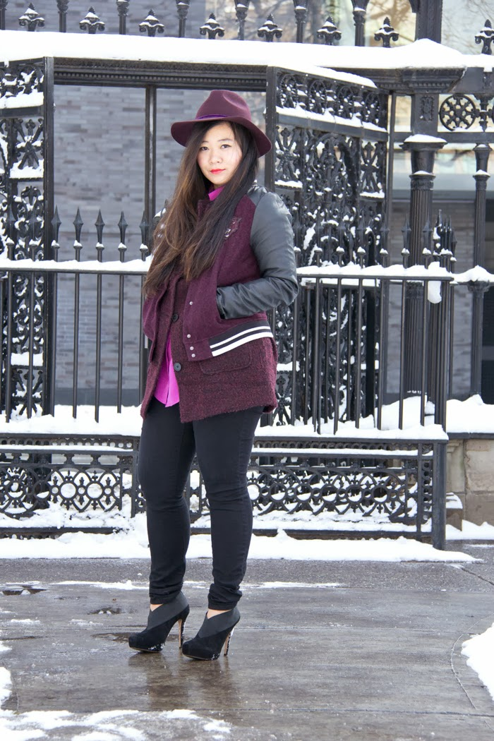 Fedora-Hat, Varsity-Jacket, Oversized-Coat, Burgundy, Fashion-Blogger