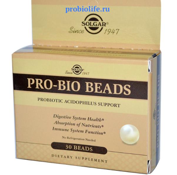 СОЛГАР (Solgar), Шарики ПРО-БИО (Pro-Bio Beads), 30 штук, цена $13.19