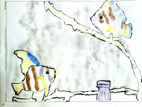 dibujo con témpera de dos peces
