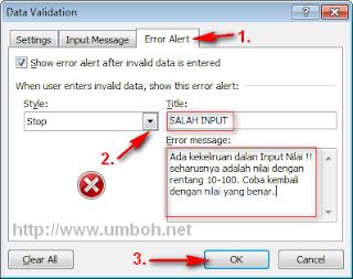 Pengaturan Tab Error Alert Data Validation