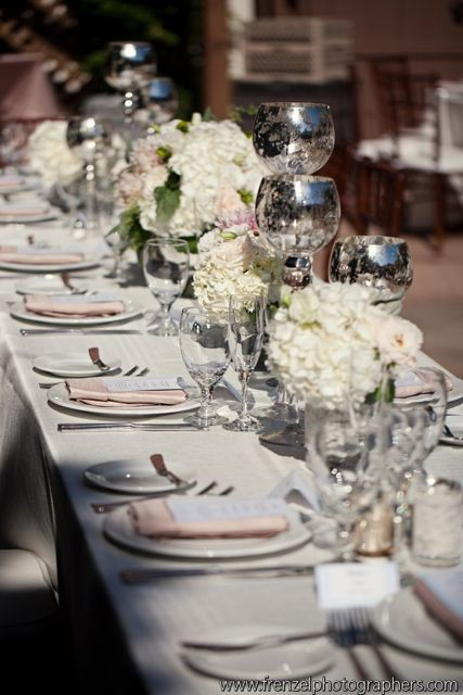 silver glassware pink fabric and white hydrangea and pink peonies for on this elegant table setting & CRAZY ABOUT WEDDINGS: Have a fabulous one - Crazy about weddings