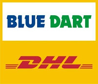 blue dart dhl, blue dart deutsche post, parcels to india