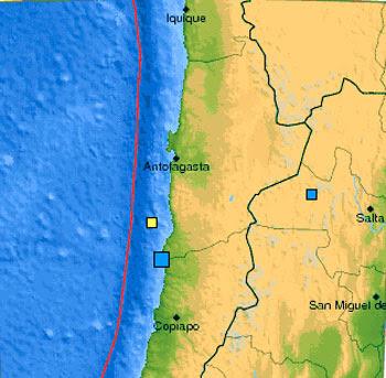 Epicentro sismo  chile, 19 de Mayo de 2012