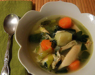 Bowl of Chicken Soup with Spoon