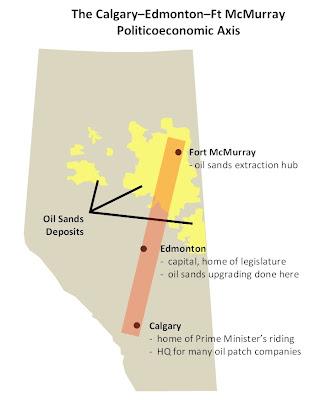 Calgary Edmonton Ft McMurray politicoeconomic axis