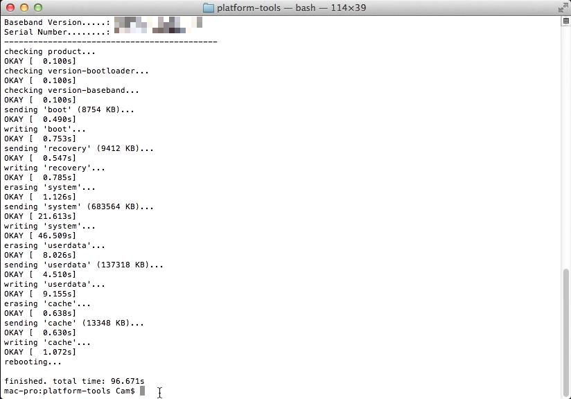 flash-all.sh script finished