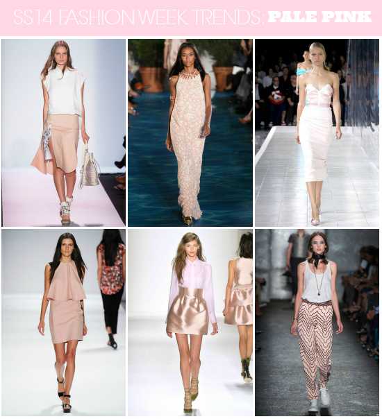 SS14 Runway Trends: Pale Pink // Click here for more fashion week #trend coverage http://lapetitefashionista.blogspot.com/2013/09/ss14-runway-trends-recap.html