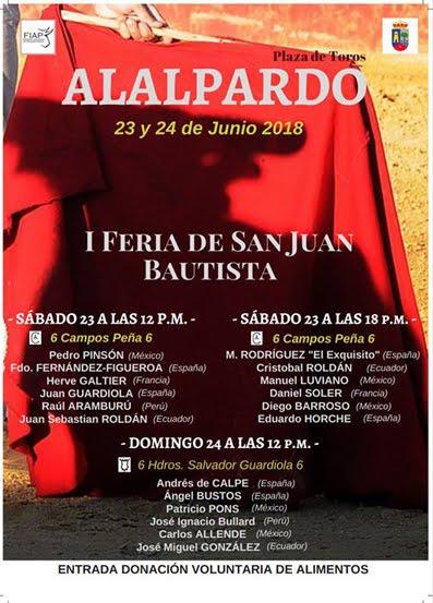 ALALPARDO (MADRID) 23 Y 24 DE JUNIO 2018 1ª FERIS PARA AFICIONADOS PRATICOS.
