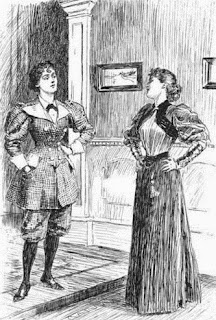 19thC cartoon - two smartly-dressed young women talking about clothes