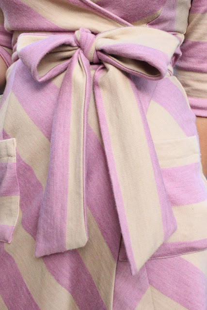 DVF Pink and Nude Chevron Wrap Dress