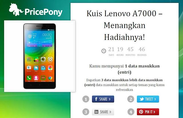 Price Pony kembali adakan kuis giveaway dengan hadiah Lenovo A7000