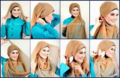 cara memakai jilbab panjang