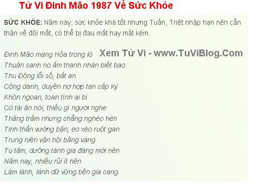 Tu Vi Dinh Mao 1987 Nam 2016