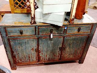 rustic, blue, cabinet
