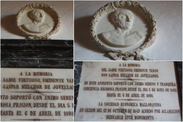 Monumento a la memoria de Jovellanos en el Castillo de Bellver en Palma de Mallorca