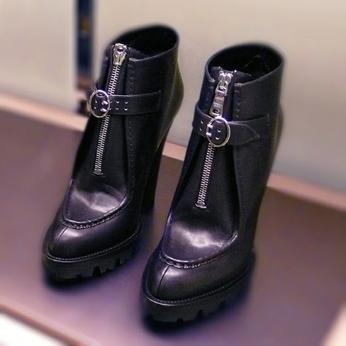 Props for Prada! Desiring these Prada Front Zip Lug Sole Platform Ankle Booties!