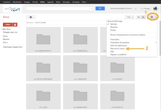 Google drive comment tre plus productif avec les for Raccourci clavier changer de fenetre