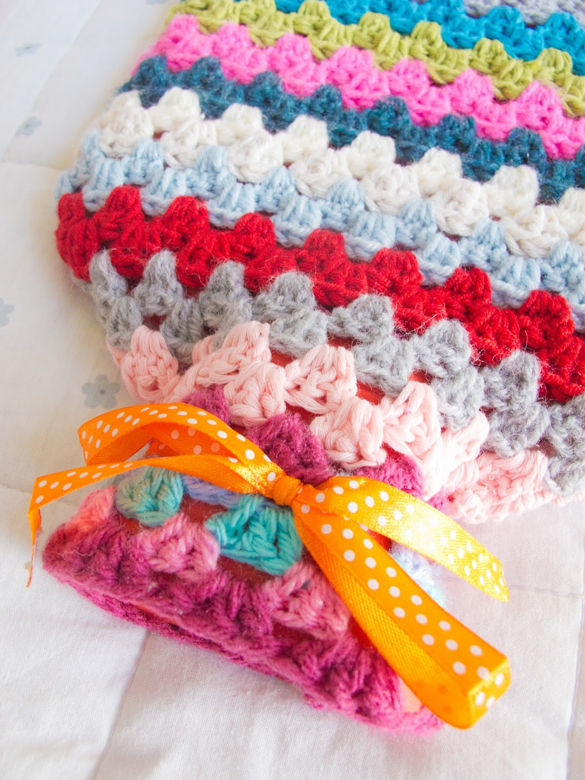 Sincerely Hooked Granny Striped Hot Water Bottle Cosy Free Pattern