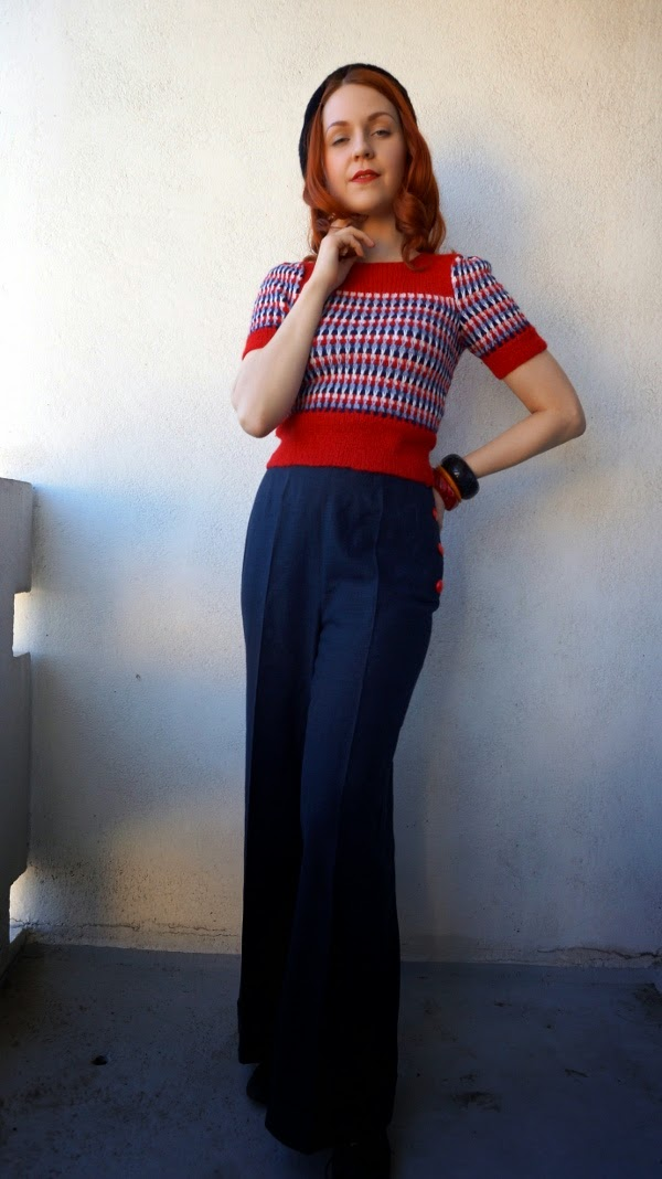 40's style swing trousers and hand knitted jumper by Cherise