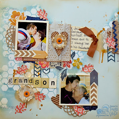 Mixed Media Layout designed by Tonya Gibbs for Artsy Addicts. #Psychomomscrapbooks #TonyaGibbs  #ArtsyAddicts #Scrapbooking #MixedMedia #Persimmon #BasicGrey #CosmoCricket