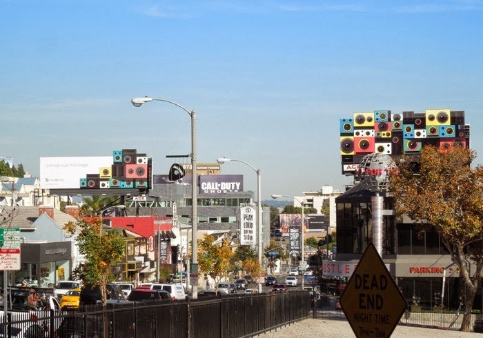 Google Play music speakers extension billboards Sunset Strip