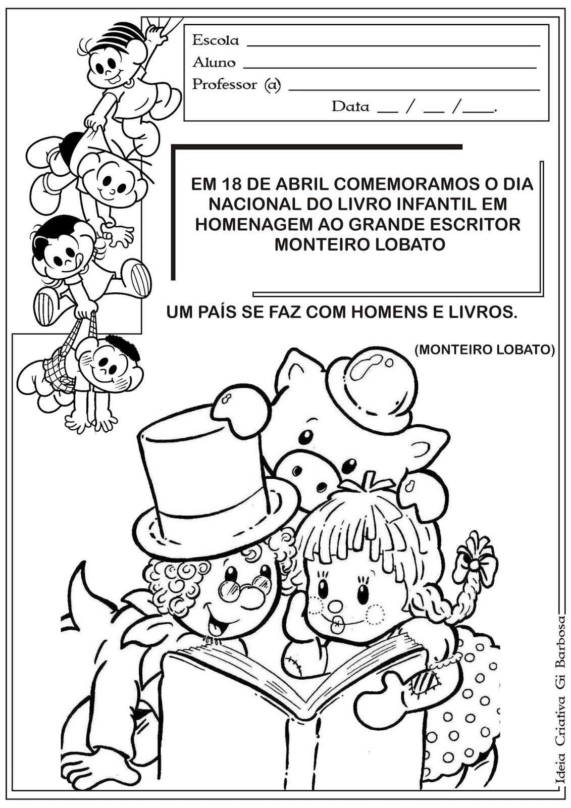 Atividades Sítio do Pica Pau Amarelo Dia do Livro Infantil