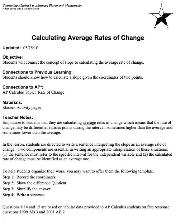 LTF Algebra 1 Module 3 Calculating Average Rates of Change – Rate of Change Worksheet