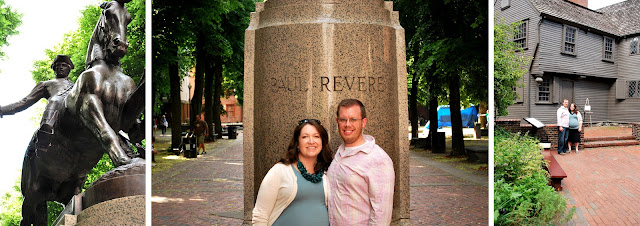 "Three photos of Paul Revere-related places. The statue of Paul Revere riding a horse. M and B and the base of the statue with ""Paul Revere"" engraved in the stone. M and B standing in front of the Paul Revere house."