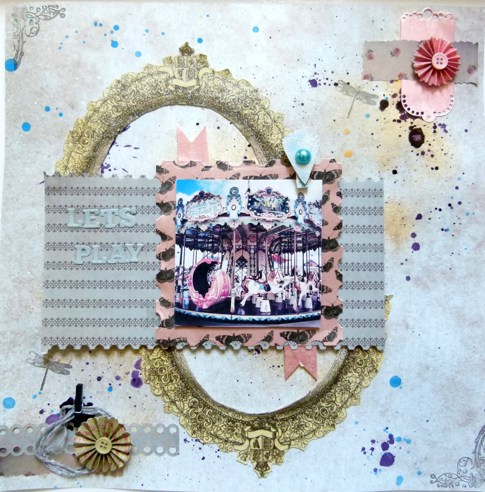 How to make scrapbook using recycled materials - I Wanted To Create A Layout That Reused Packaging The Background Was Created By Using Decoart Misters And Creating Splats By Unscrewing The Cap And
