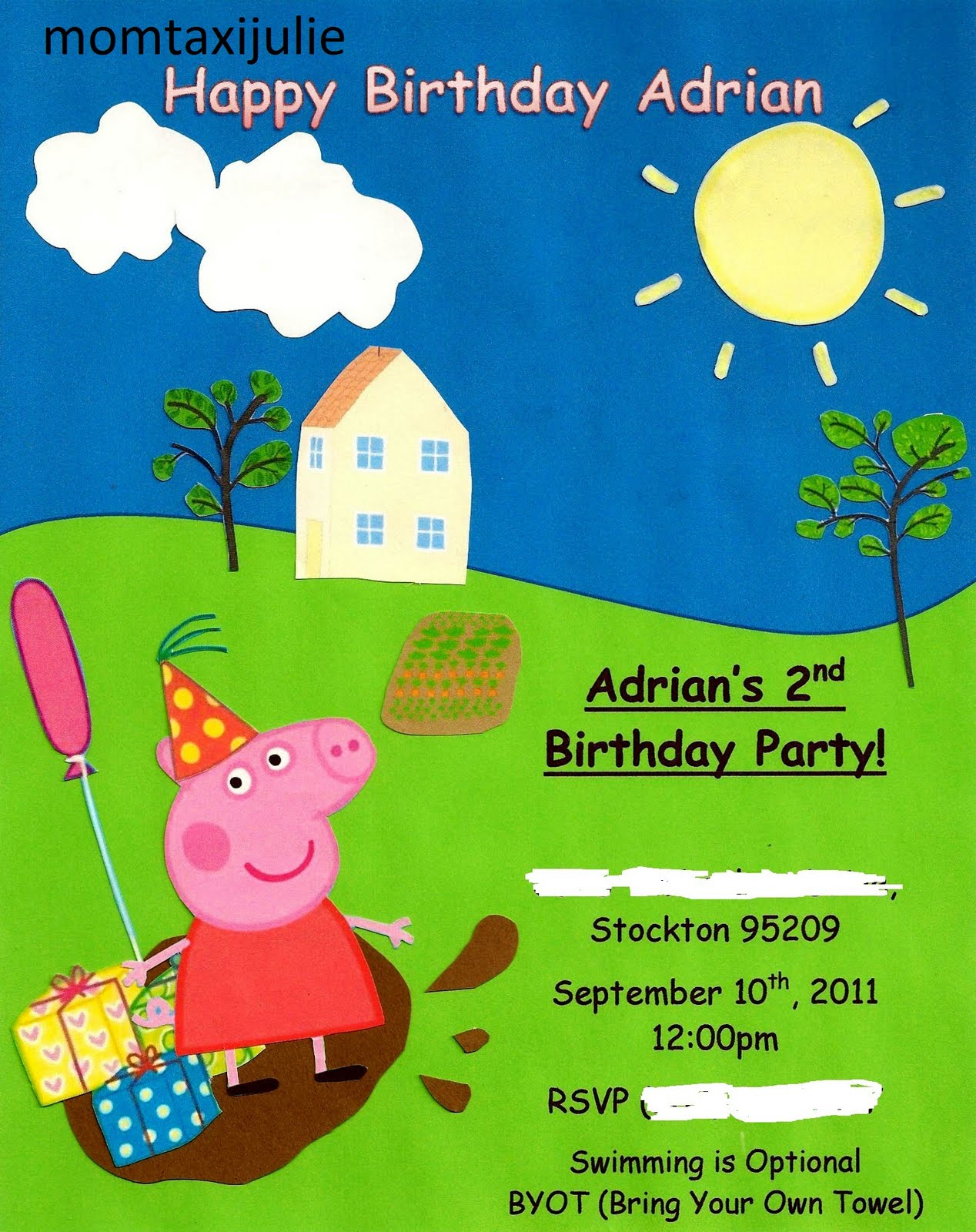 Mom Taxi Julie: Peppa Pig Party Invitation
