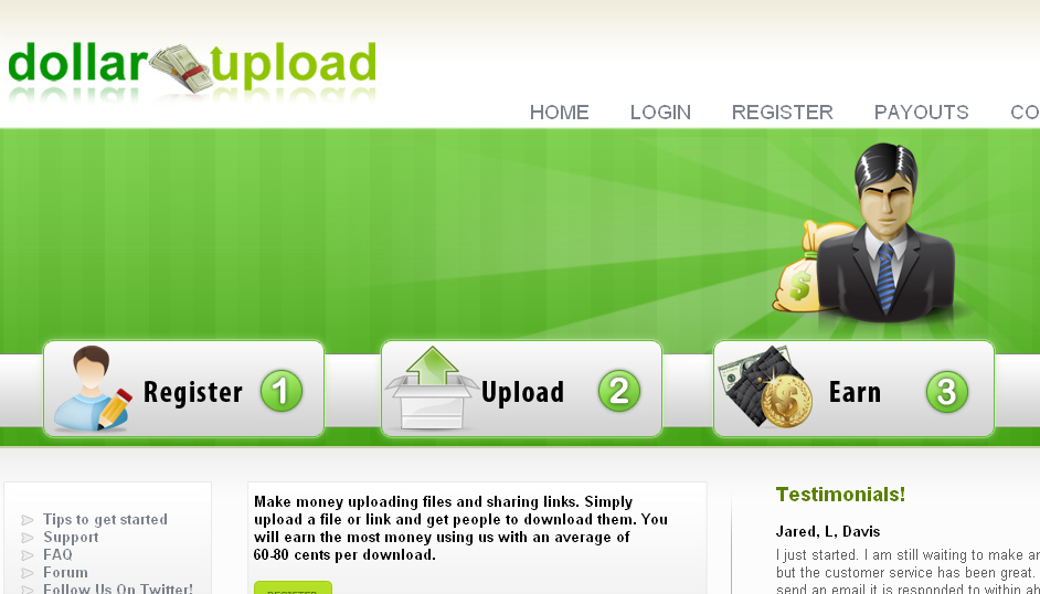 dollarupload is the best site to make money uploading files or links you get paid money to upload files and links its that simple earn per download now