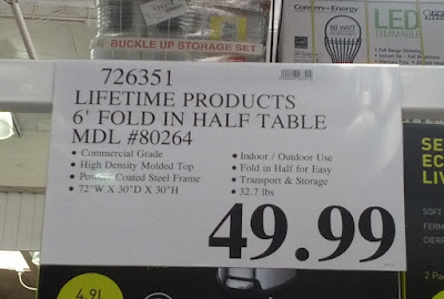 Deal for Lifetime Commercial Grade 6 ft Fold-in-Half Table (model 80264) at Costco