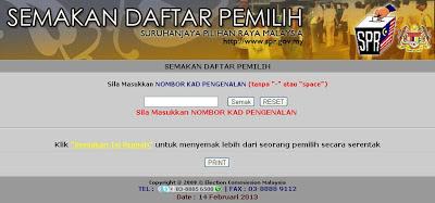 Semakan Daftar Pemilih SPR Secara Online dan SMS