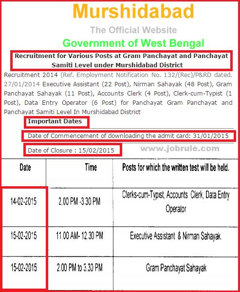 Murshidabad District Panchayat Level Gram Panchayat Sahayak, Executive Assistant & Nirman Sahayak 15/2/2015 Written Examination Answer Key