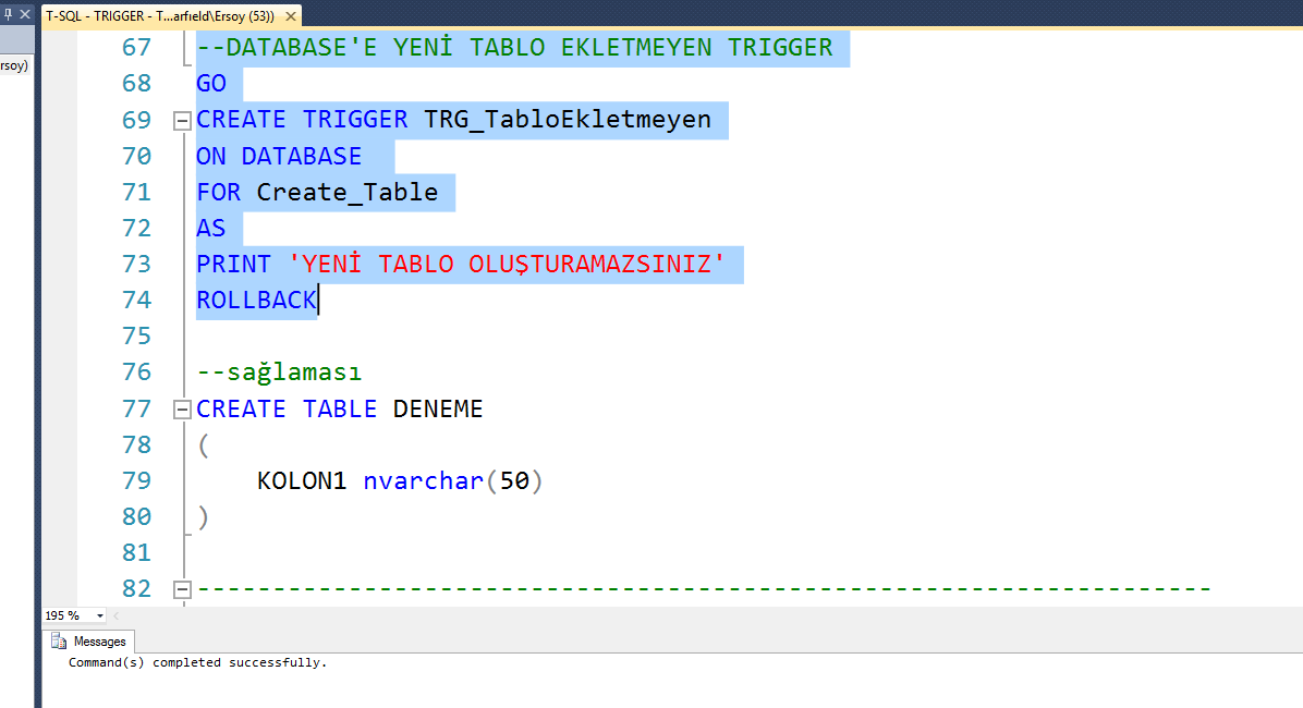 sql how to create a trigger to prevent table delete