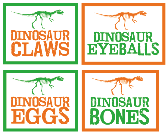 DINOSAUR SNACK LABELS