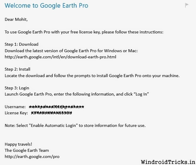 google earth pro username and password