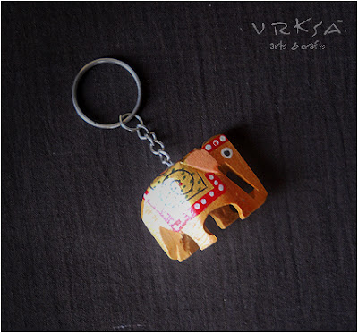 Vrksa Arts Amp Crafts Key Chain Elephant Indian Wooden