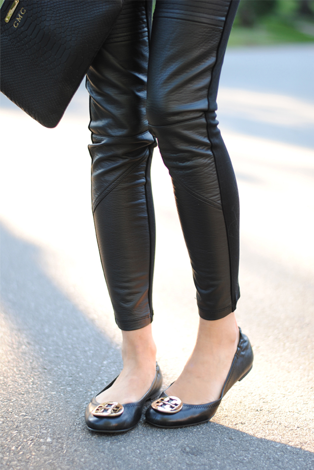 Leather leggings paired with Tory Burch flats