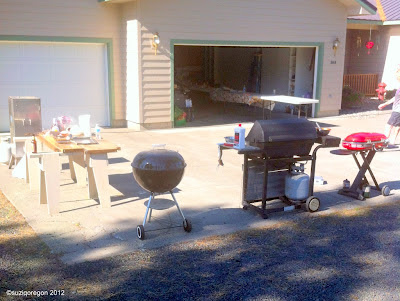 Three grills and a smoker