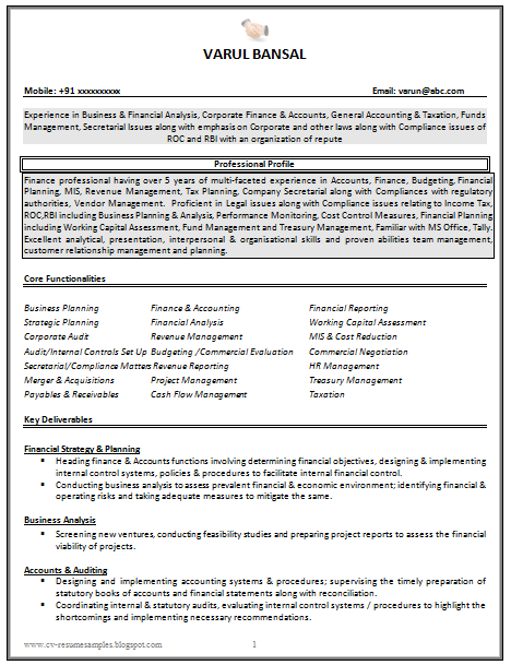 ... for Good CV Resume Sample for Chartered Accountant (3 Page Resume