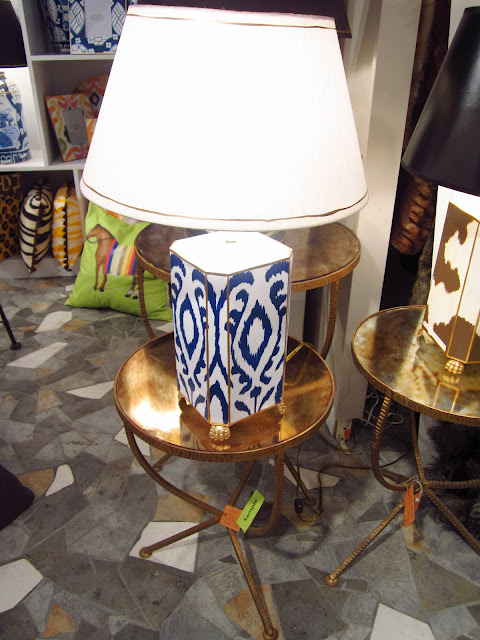 blue and white ikat lamp