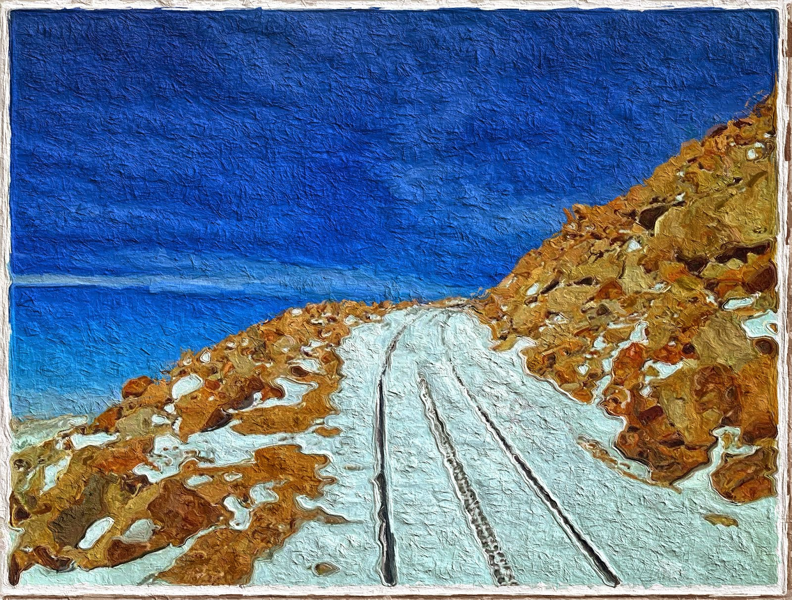 train tracks covered with snow free painting