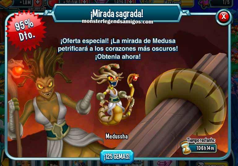 imagen de la oferta del monstruo medussha de monster legends
